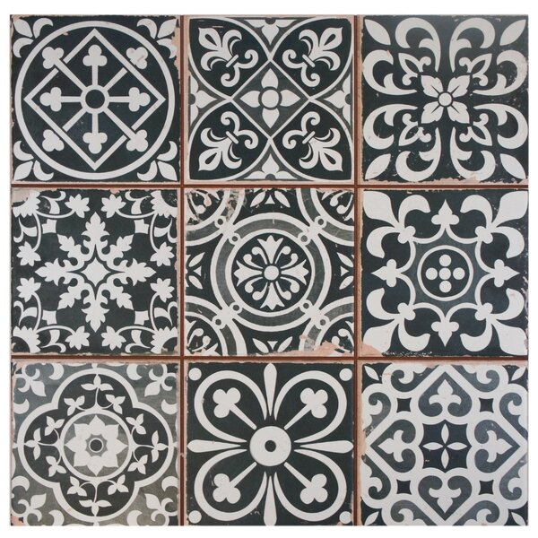 Faventie Nero 13 x 13 Ceramic Field Tile in Black/White by EliteTile