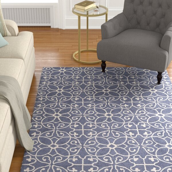 Arison Traditional Hand Hooked Wool Dark Blue Area Rug by Charlton Home