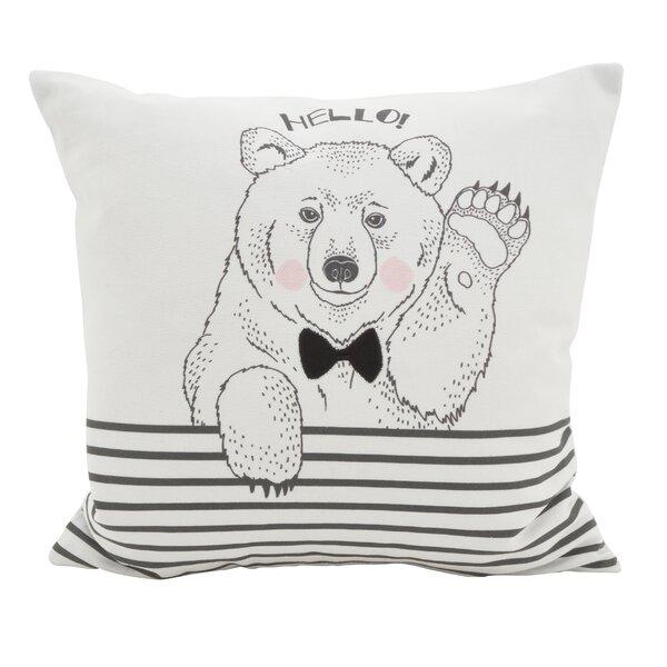 Owens Animal Dessiné Hello Bear Striped Cotton Throw Pillow by Wrought Studio