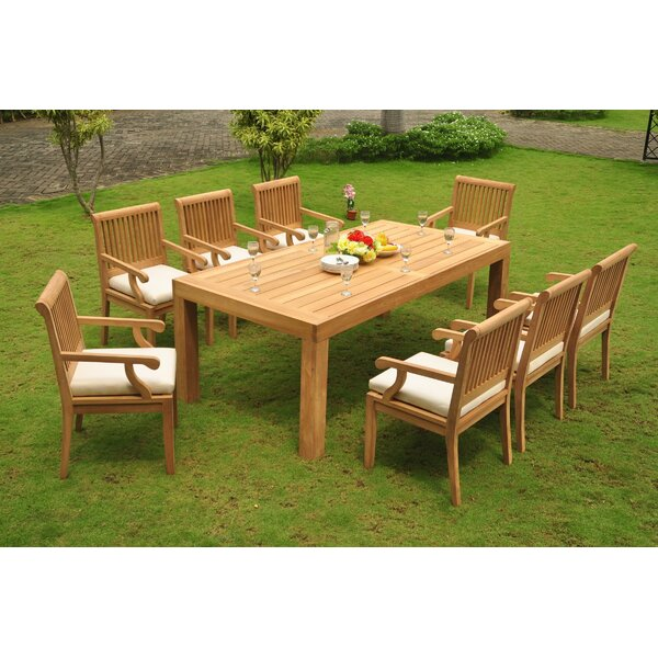 Shelby 9 Piece Teak Dining Set by Rosecliff Heights