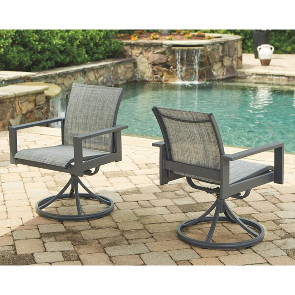 Kaylie Sling Swivel Patio Dining Chair (Set of 2) by Gracie Oaks