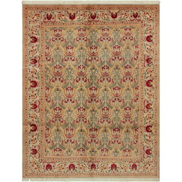 Denault Hand-Knotted Wool Green/Gray Area Rug