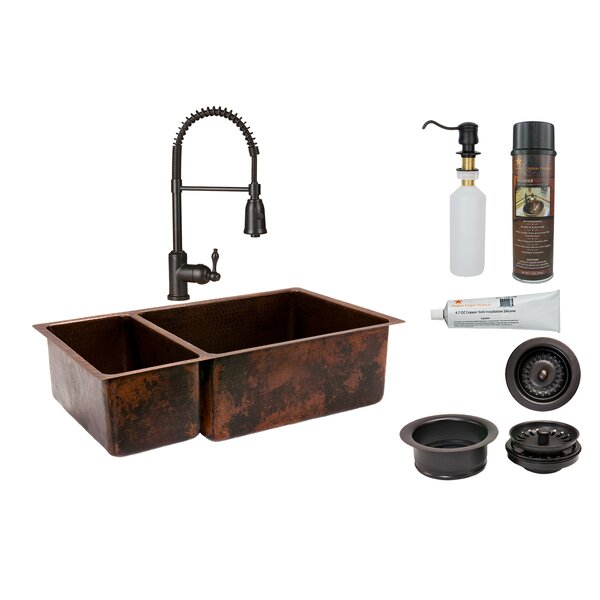 33 L x 19 W Double Basin Kitchen Sink with Faucet
