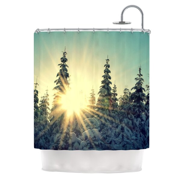 Shine Bright by Robin Dickinson Snowy Trees Shower Curtain by East Urban Home