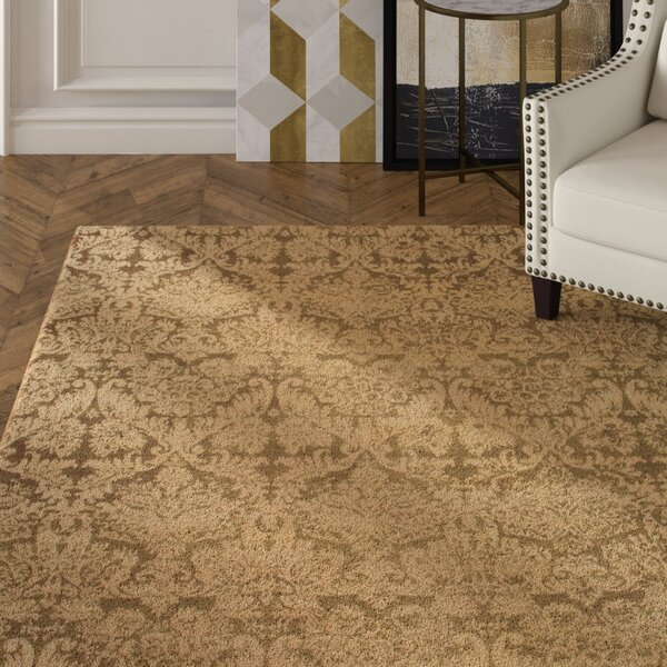 Duy Damask Hand Knotted Wool Yellow Area Rug by Everly Quinn