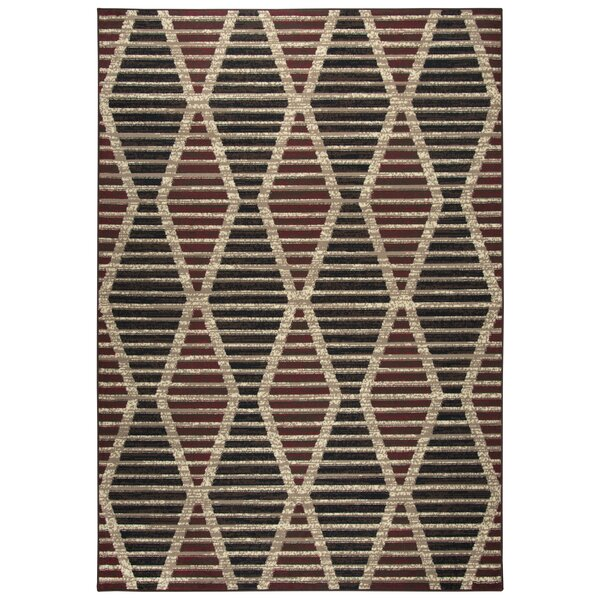 Clarence Beige/Red/Black Area Rug by World Menagerie