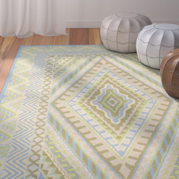 Puri Blue/Yellow Outdoor Area Rug by Bungalow Rose