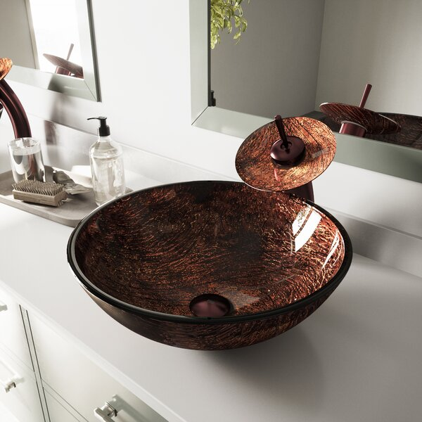 Sink Tempered Glass Circular Vessel Bathroom Sink by VIGO