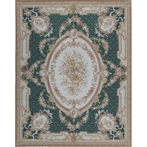 One-of-a-Kind Floral Hand-Knotted 8' X 10'3 Green/Gold Area Rug