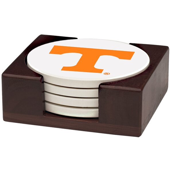 5 Piece University of Tennessee Wood Collegiate Coaster Gift Set by Thirstystone
