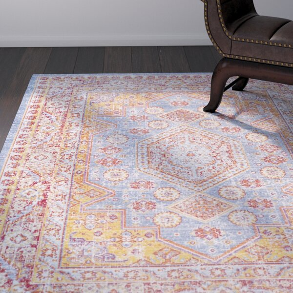 Kahina Vintage Distressed Oriental Pink/Blue Area Rug by Bungalow Rose