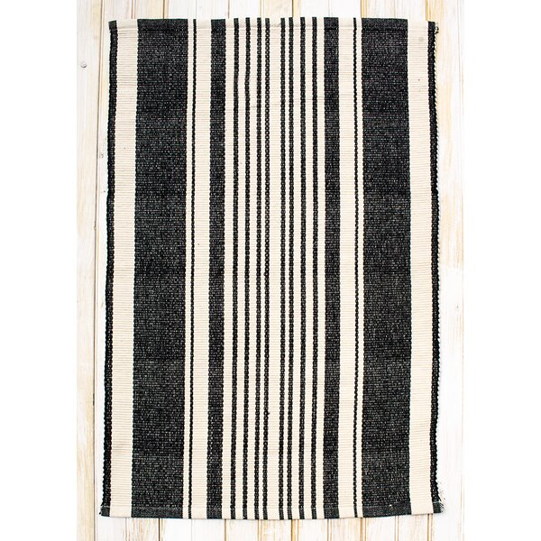 Boothbay Black/Natural Stripe Area Rug by CLM