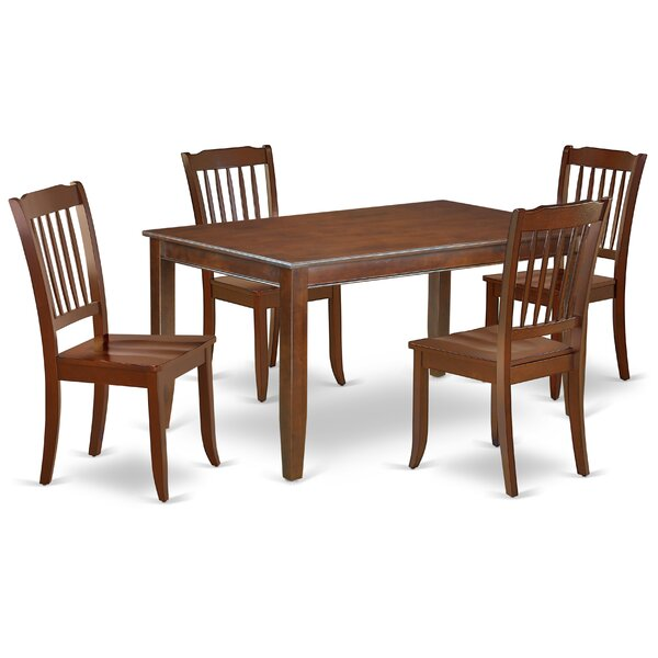 Kucharski 5 Piece Solid Wood Dining Set by August Grove