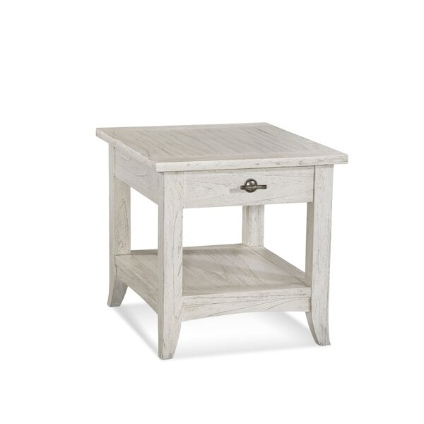 Fairwind End Table with Storage in , Polished Nickel by Braxton Culler