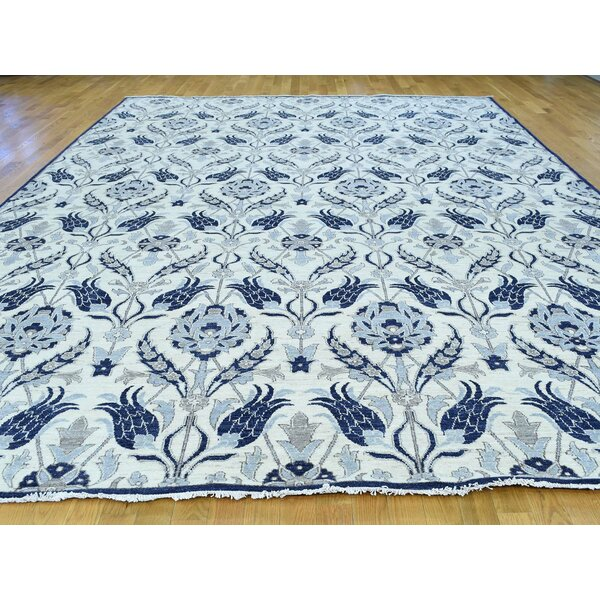 One-of-a-Kind Belhaven Arts Crafts William Morris Design Handwoven Ivory Wool Area Rug by Isabelline