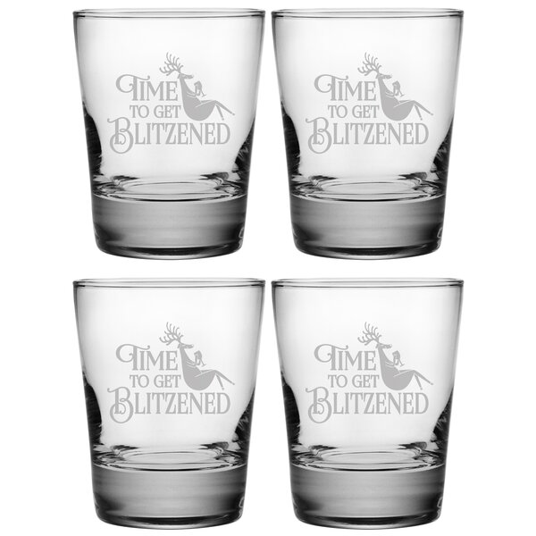 Blitzened Heavy Base DOF 13.25 oz. Glass Every Day Glass (Set of 4) by The Holiday Aisle