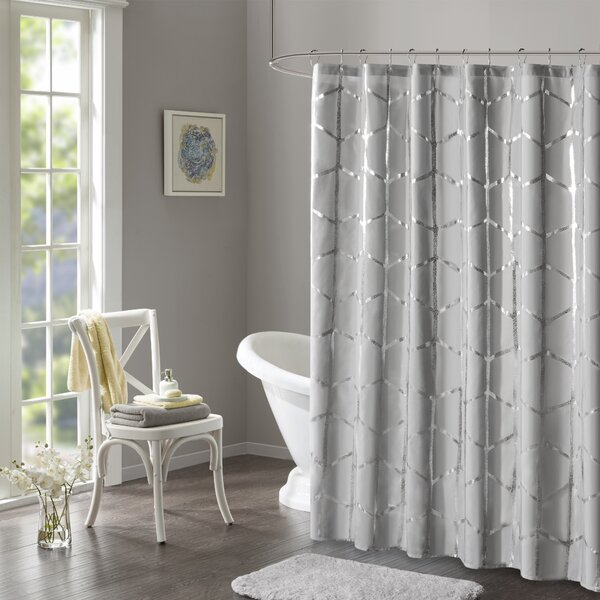 Mangesh Microfiber Printed Metallic Shower Curtain by Willa Arlo Interiors