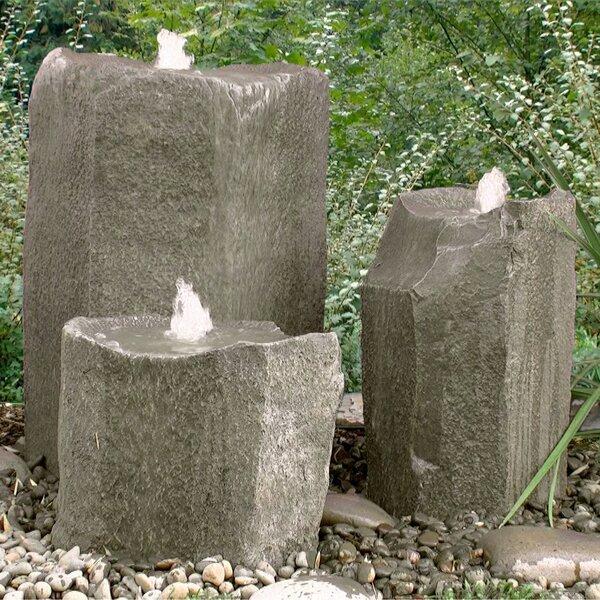 Glass Fiber Reinforced Concrete Basalt Rock Bird Bath Triple Pondless Fountain Kit by LiquidArt Fountains