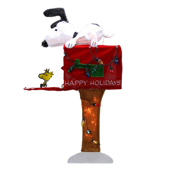 Peanuts Pre-Lit Peanuts Snoopy with Mailbox Animated Christmas Yard Art Decoration by Northlight Seasonal