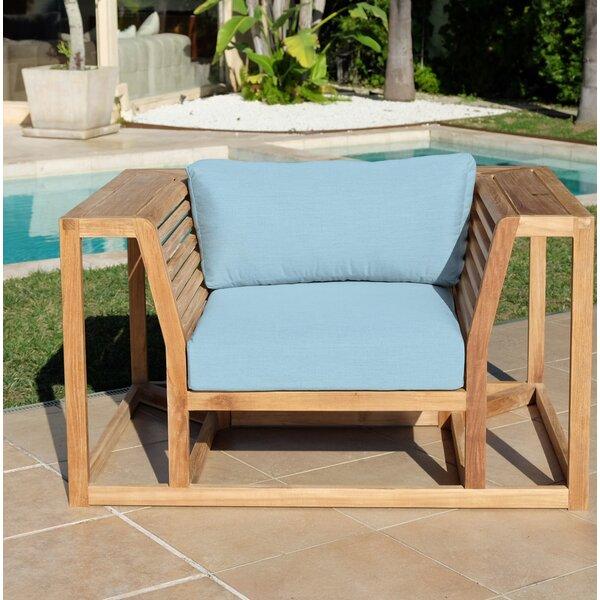 Zahn Teak Patio Chair with Sunbrella Cushions by Rosecliff Heights