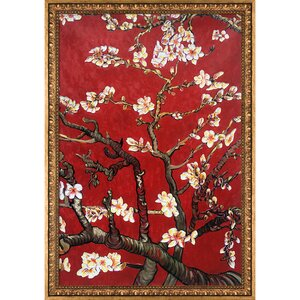 'Branches of An Almond Tree in Blossom' by Vincent Van Gogh Framed Oil Painting Print on Canvas by World Menagerie