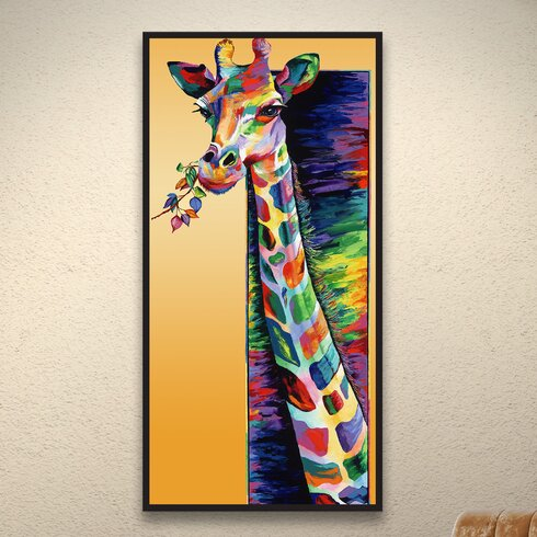 ArtWall Giraffe Eating by Linzi Lynn Framed Painting Print on ...