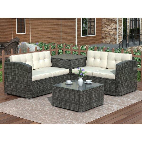 Argana 4 Piece Rattan Sofa Seating Group with Cushions