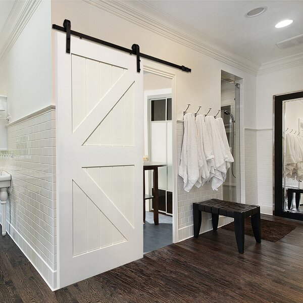 Single Stile and Rail K Planked MDF 4 Panel Interior Barn Door with Hardware by Verona Home Design
