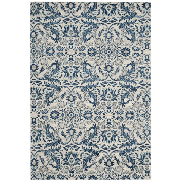 Montelimar  Ivory/Blue Area Rug by Lark Manor