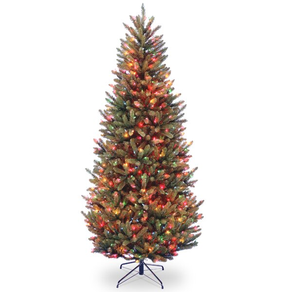 Slim Green Fir Artificial Christmas Tree with 600 Multi-Colored Lights with Stand by Red Barrel Studio