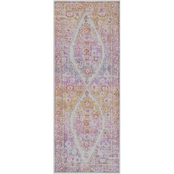 Kahina Traditional Vintage Distressed Oriental Pink/Orange Area Rug by Bungalow Rose