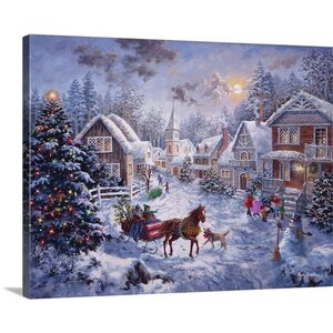 Christmas Art 'Merry Christmas' by Nicky Boehme Painting Print on Wrapped Canvas by Canvas On Demand