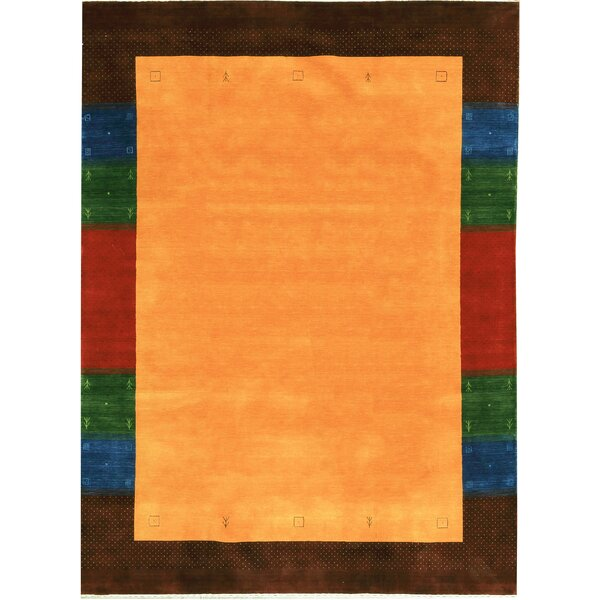 One-of-a-Kind Gabbeh Hand-Knotted Wool Orange Area Rug by Bokara Rug Co., Inc.