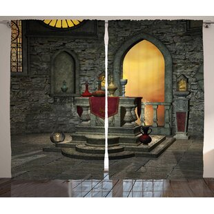 Gothic Ancient Altar Holy Table In Castle Baroque Inspired Alchemy Wizard  Design Graphic Print U0026 Text Semi Sheer Rod Pocket Curtain Panels (Set Of 2)