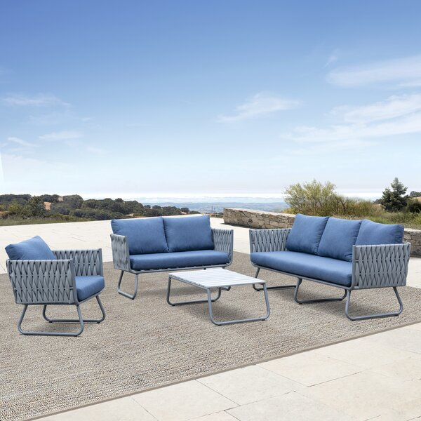 Barnsley 4 Piece Sofa Seating Group with Cushions by Brayden Studio