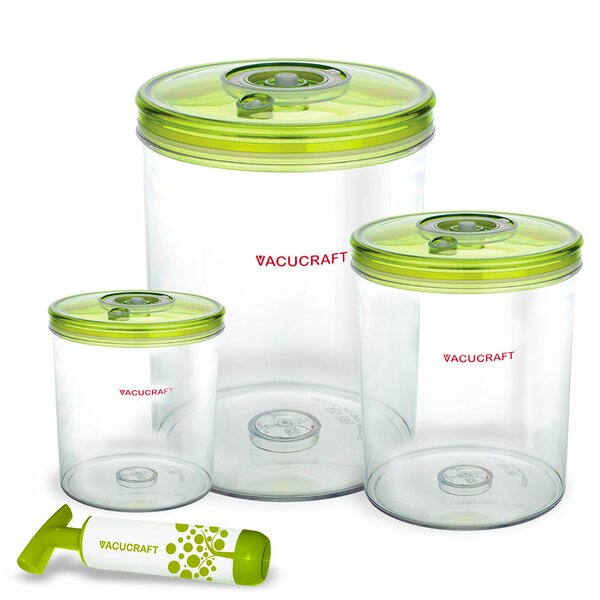 Vacuum Cylinder 3 Container Food Storage Set by Vacucraft