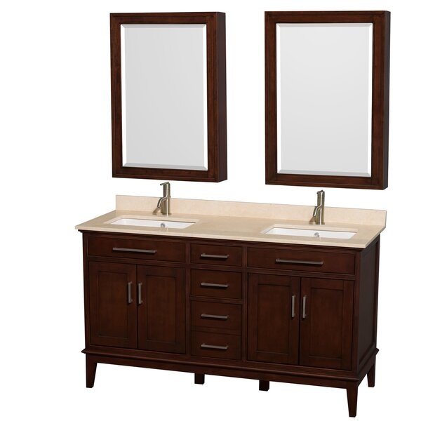 Hatton 60 Double Dark Chestnut Bathroom Vanity Set with Medicine Cabinet by Wyndham Collection