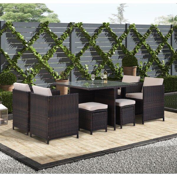 Mcdade 9 Piece Dining Set with Cushions Bayou Breeze W003178483