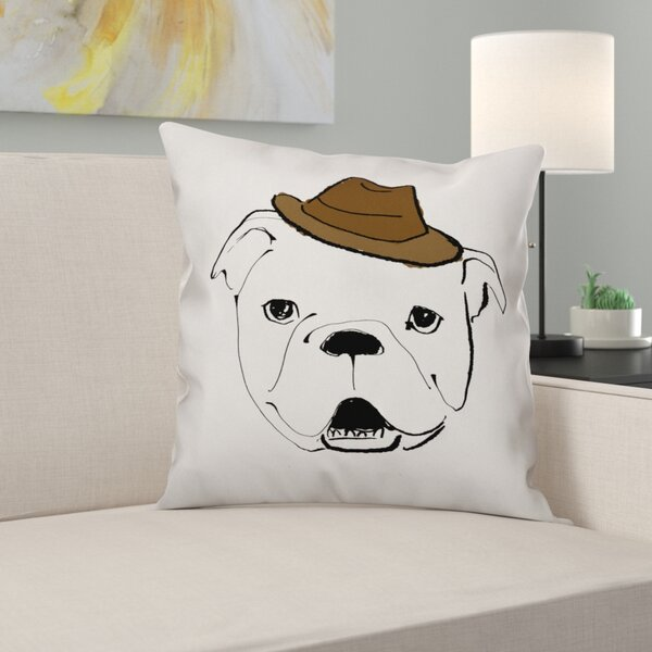 Dog with Hat Throw Pillow in , Cover Only by East Urban Home