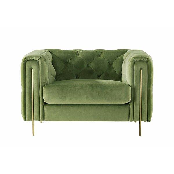 Acanva Chesterfield Vintage Tufted Velvet Armchair by Everly Quinn