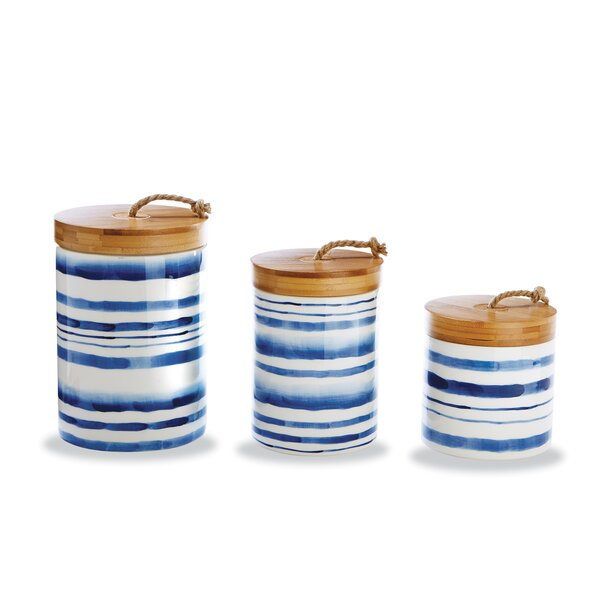 Watercolor Stripe 3 Piece Kitchen Canister Set by Mud Pie™