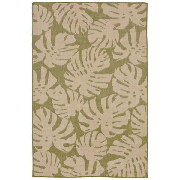 Lambert Fronds Power Loom Green Indoor/Outdoor Area Rug by Bay Isle Home