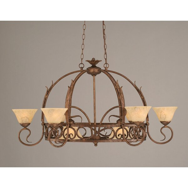 8 Light Chandelier Pot Rack with Italian Marble Glass Shade by Red Barrel Studio