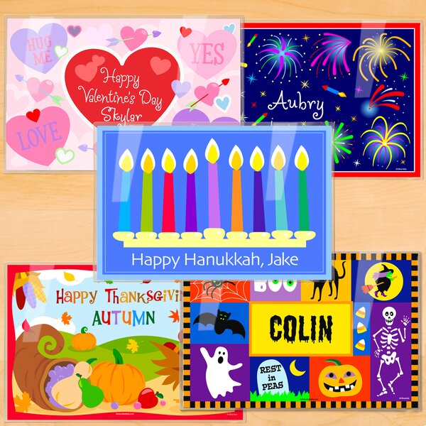 5 Piece Holiday Personalized Placemat Set by Olive Kids