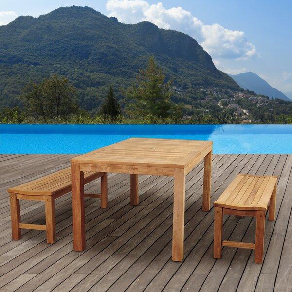 Truesdale International Home Outdoor 3 Piece Teak Dining Set by Highland Dunes