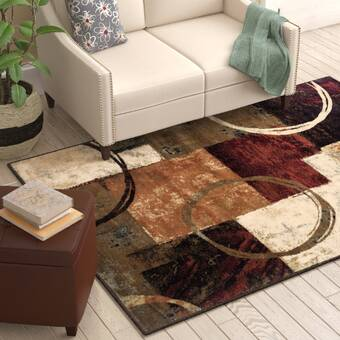 Giannini Abstract Hand-Carved Brown/Red Area Rug