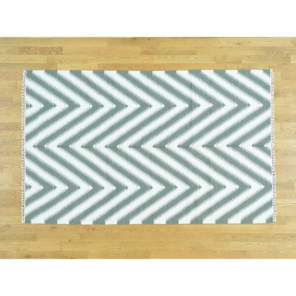 One-of-a-Kind Berumen Chevron Design Handmade Kilim Ivory Wool Area Rug by Isabelline