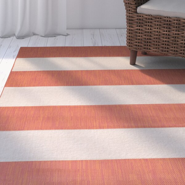 Kirree Terracotta Indoor/Outdoor Area Rug by Breakwater Bay