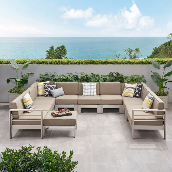 Destinee Outdoor 10 Piece Sectional Seating Group with Cushions by Orren Ellis Orren Ellis