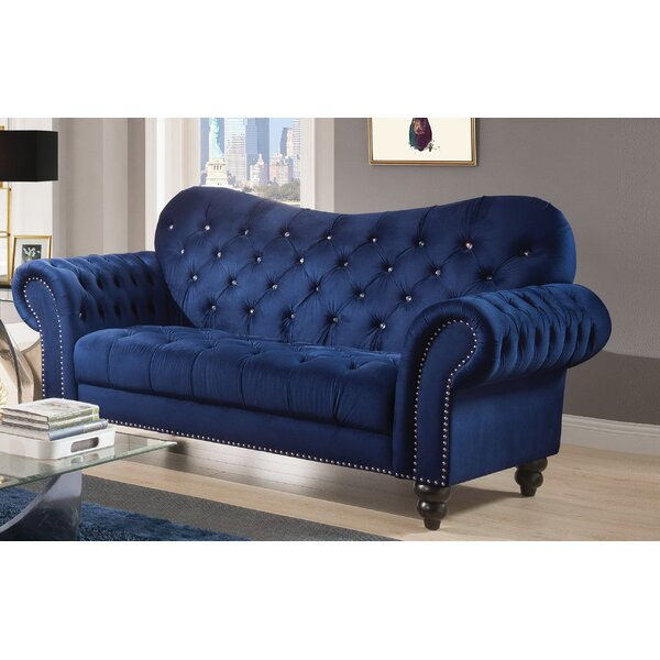 Premium Sell Rogers Chesterfield Loveseat by Everly Quinn by Everly Quinn